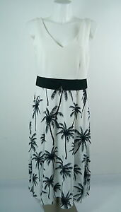 ANA ALCACAR Da.Kleid V-Ausschnitt EmpireKleid Georgette Palmenprint weiß Gr.42