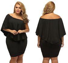 Ladies Black Lagenlook Plus Multiple Dressing Layered Mini Dress 16 18 20 22