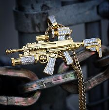 Men's Iced Out Hip Hop 18k Gold Large Riffle Gun Pendant Franco Chain Necklace