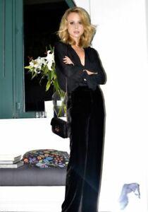 ANN TAYLOR $119 Womens Silk Velvet Palazzo Pant Wide Leg Lined Side Zip Black 6P