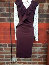 Ladies Size 12 Frill  ruffles Pencil Dress Maroon burgundy Work Office wiggle