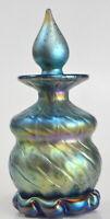 Iridescent Blue Perfume Bottle With Murano Design .Blown Art Glass