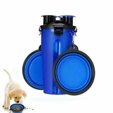 2 in 1 Pet Food Container Dog Water Bottle Dish Feeder Bowl 1 Bottle Cup+2 Bowls