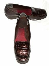Aerosoles A2 TEMPTING Red Brown Croc Faux Patent Leather Wedge Heels Sz 8.5 M