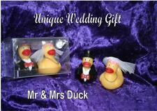 Bride & Groom DUCKS wedding engagement gift Mr & Mrs rubber ducky present boxed