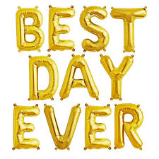 Party Supplies Gold 41cm Foil letters 'BEST DAY EVER' Birthday Baby Wedding