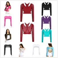 Women Ladies Shiny Rhinestones Ballet Dance Crop Top Long Sleeve Mesh Blouse Top