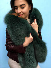 Green Fox Fur Stole Boa 70' Inch. (180cm) Saga Furs Collar Royal Big Haki Scarf
