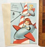 VINTAGE 1960S GIRL & BOY POP-UP CARNIVAL ROCKET RIDE AUSSIE BIRTHDAY CARD UNUSED