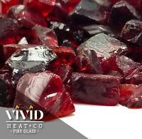 """PREMIUM RUBY RED - 1/2"""" - 3/4"""" Large Fireplace Fire Pit Fireglass Glass Crystals"""
