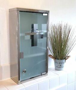 Edelstahl Medizinschrank Medikamentenschrank Hausapotheke Glastür abschließbar