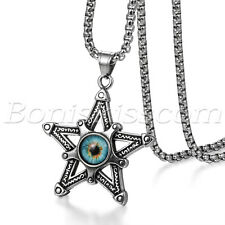 Men's Stainless Steel Double-sided Pentacle Devil's Eye Pendant Necklace Chain