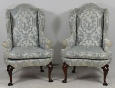 Pair of HICKORY CHAIR James River Mahogany Wing back chairs Chinoiserie Fabric