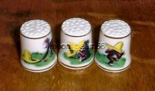 """3 Curious George Yellow Hat New 1"""" Tall Bone China Thimbles with Gold Trims"""