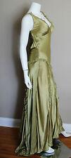Dina Bar-EL Light Green Silk Full Length Dress Gown Orig $502 Size Small