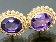 9ct Gold Vintage Amethyst Earrings