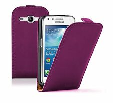 PURPLE Leather Flip Case Cover Pouch for Samsung Galaxy Core Plus SM-G350 G3502