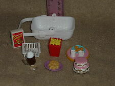 Fisher Price Loving Family Dollhouse Food Lot: Popcorn Basket Cookie Tray Cake