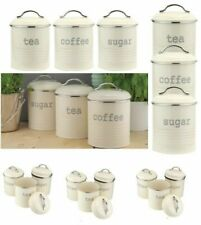 RETRO VINTAGE CREAM TEA COFFEE SUGAR STORAGE JARS CANISTERS SET AIRTIGHT LID