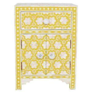 Handmade Bone Inlay Bedside Table Bone Inlay Nightstand Side Table Yellow Color