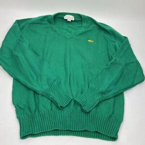 Masters Augusta National Golf Shop V Neck Green Sweater 100% Cotton Slazenger L
