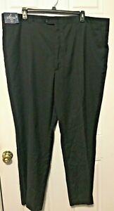 Stafford Executive Mens Big & Tall 50 x 32 Black Suit Dress Pants Flat Front New