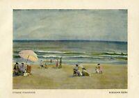 Strand Viareggio Kunstdruck 1923 von Hermann Ebers Italien Toskana Lucca Meer