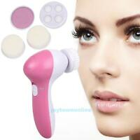 5 In 1 Electric Facial Cleaner Rotary Face Skin Care Brush Massager Scrubber HOT