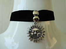 SUEDE with silver sun Choker/necklace. Vintage-retro-emo. Wedding, Fancy dress.