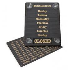 Horas de negocios Abierto / Cerrado señal de aviso, horas de apertura