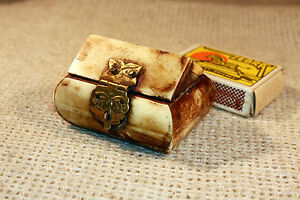 ANTIQUE Middle East CARVED CAMEL BONE & BRASS SMALL JEWELRY TRINKET BOX #2