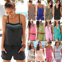 Women Strap Mini Playsuit Ladies Summer Shorts Jumpsuit Beach Dress Plus Size