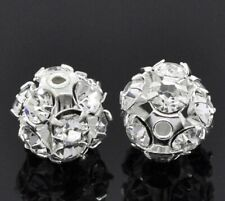 6/8/10 MM Rhinestone Crystal  Silver Plated Round Ball Spacer Beads  clear