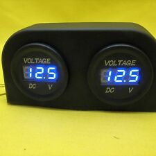 Volt Gauge LED Meter 12V DC Surface Mount Dual Battery Batteries BLUE Voltmeter
