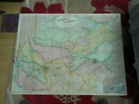 100% ORIGINAL LARGE CENTRAL SCOTLAND  FOLDING MAP ON LINEN BY BACON C1890/S