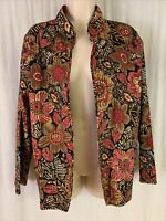 Alfred Dunner Women's Sz 14 Animal Print Floral Open Front Quilted Jacket EUC