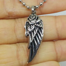 """""""Rose Eagle Wing"""" Cremation Urn Pendant Necklace Stainless Jewelry Ash Keepsake"""