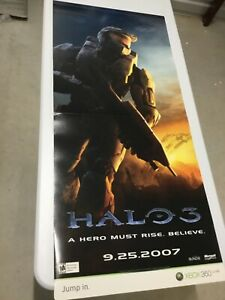 HALO MASTER CHIEF Video Game Store Display Sign poster 2007 XBOX BUNGIE Promo