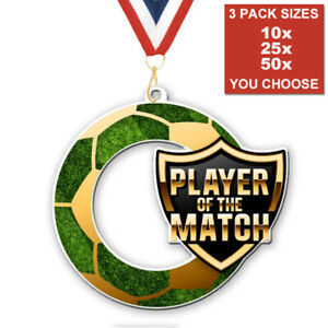 FOOTBALL PLAYER OF THE MATCH ACRYLIC MEDAL 50-70mm, PACK OF 10 WITH RIBBONS