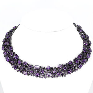 76.70CT NATURAL PURPLE AMETHYST MIXED SHAPE STERLING 925 SILVER NECKLACE 15.5
