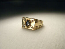 Handsome Estate 14K Yellow Gold Sapphire Diamond Mens Band Ring