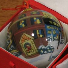 Li Bien Glass Ornament Reverse Painted Inside Dickens Town Scene Ornament
