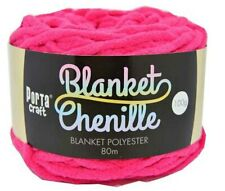 Chenille Blanket Yarn 100g 80m Solid Hot Pink