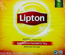 Lipton Natural Black Tea Ready-To-Go Bags Serve Hot or Cold, 104 Count