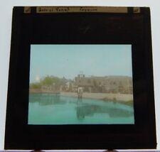 Egyptian Village WW1 Era Hand Coloured Antique Glass Slide  Photograph