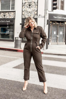 Good American Khaki Green Military Flight Suit Jumpsuit All In One Dress S M L