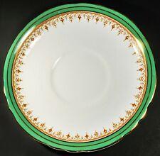"Aynsley Durham Green 6 3/8"" Demitasse Saucer Plate w/ Gold Gilding Trim"