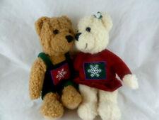 "Kissing Hallmark Teddy Bears Plush Snowflake Christmas Snowflake 9"" set pair"