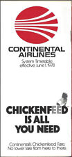 Continental Airlines system timetable 6/1/78 [8102]