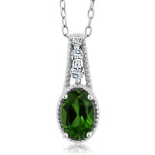 0.53 Ct Oval Green Chrome Diopside White Topaz 925 Sterling Silver Pendant